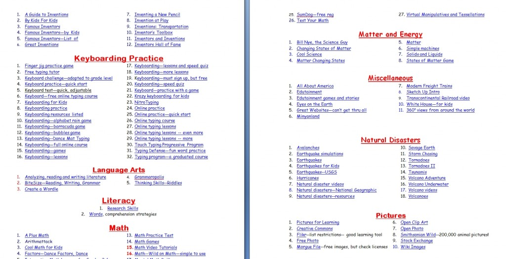 760+ Tech Ed Websites - Structured Learning