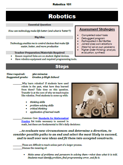Robotics 101 - Structured Learning