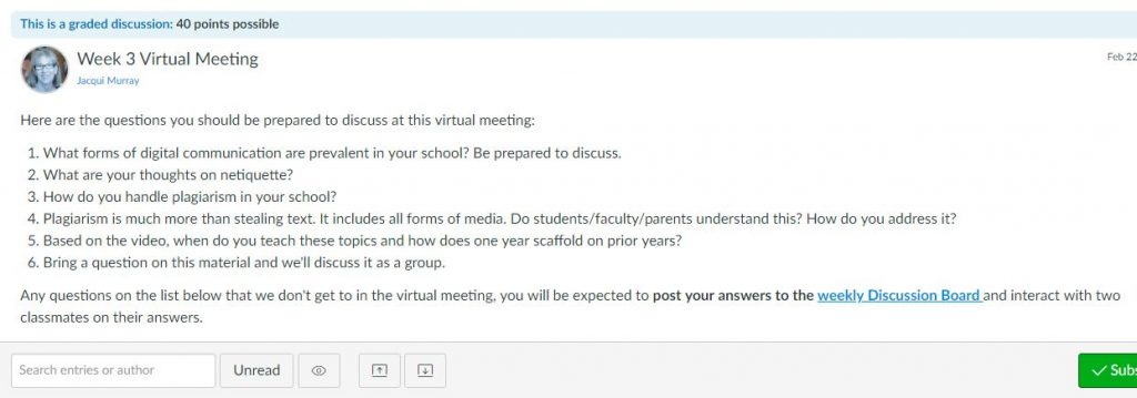 "<span class=""photo-caption"">Weekly virtual meeting sample</span>"